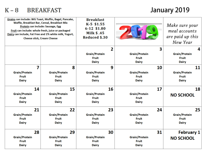 jan 2019 k-8 breakfast menus