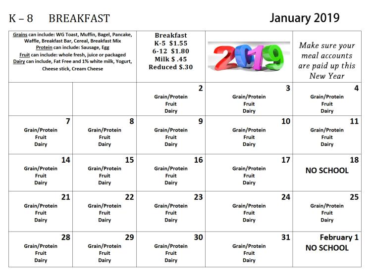 jan 2019 k-8 breakfast menus