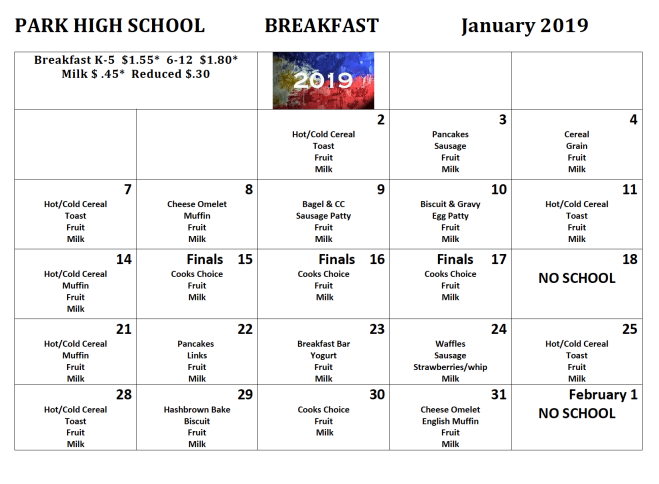 jan 2019 phs breakfast menus